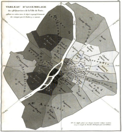 history of gis cholera map by Charles Picquet Paris
