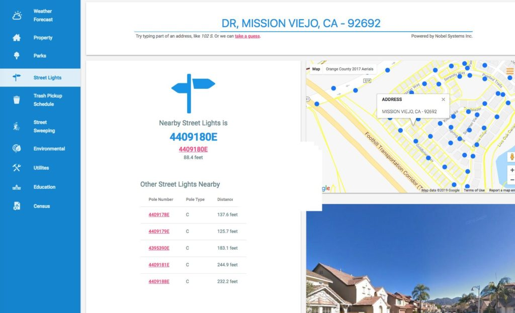 GeoViewer Public View Streetlights map